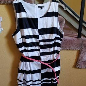 Statement Black and White Striped Sheath Dress